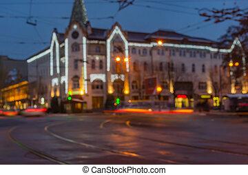 ukraine, ville, soir, central, dnipro, hôtel, partie, temps