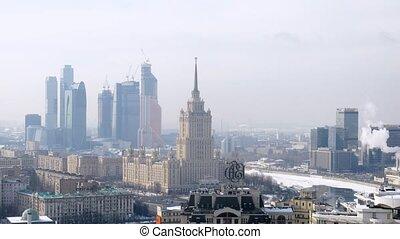 ukraine, ville, stands, centre, business, moscou, hôtel, avant