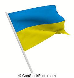 ukraine waves flag on white background. Isolated 3D image