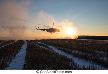 Ukrainian army helicopter patrols the area of of the antiterrorist operation