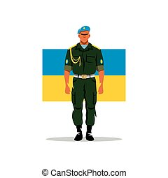 Ukrainian army soldier. Vector Cartoon Illustration.
