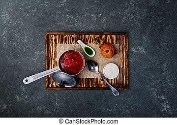 Ukrainian borsch with tomato, beetroot and brioche.