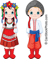 Ukrainian Boy and Girl - Boy and Girl in Ukrainian folk...