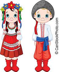 Ukrainian Boy and Girl - Boy and Girl in Ukrainian folk...