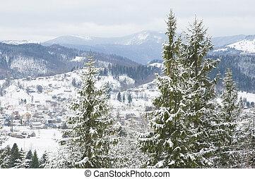Ukrainian Carpathian mountains in s
