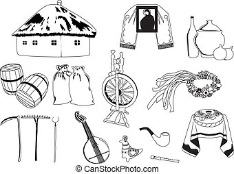 Ukrainian characters - characters symbolizing Ukraine on a...