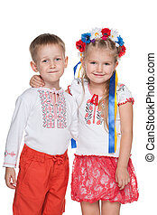 Ukrainian children in national dress