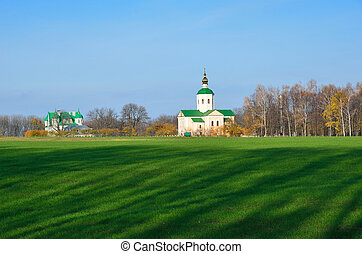 Ukrainian country landscape with a church