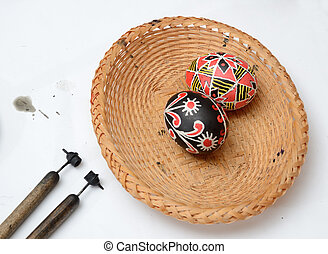Ukrainian Easter eggs with styluses