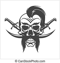Ukrainian emblem - Cossack skull and crosses sabers. Vector...