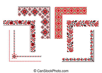 Ukrainian embroidery corners - Vector illustrations of...