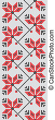 Ukrainian embroidery flowers red an