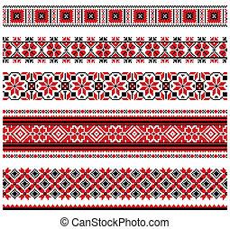 Ukrainian embroidery ornament - Vector illustrations of...
