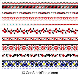 Ukrainian embroidery ornament - Vector illustrations of...