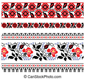 Vector illustrations of ukrainian embroidery ornaments, patterns, frames and borders.