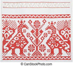 Ukrainian embroidery, towel, texture