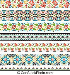 Ukrainian ethnic national border patterns for embroidery stitch