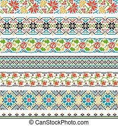 Ukrainian ethnic national border patterns for embroidery stitch