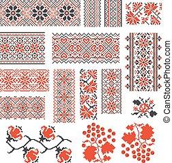 Ukrainian ethnic national seamless patterns vector set. Embroidery stitch