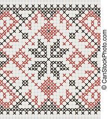 Ukrainian ethnic ornament - cross-stitch