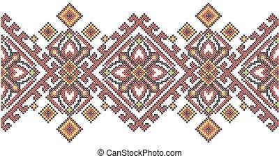 Ukrainian ethnic style cross stitch embroidery geometric pattern.