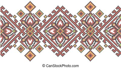 Ukrainian ethnic style cross stitch embroidery geometric pattern.