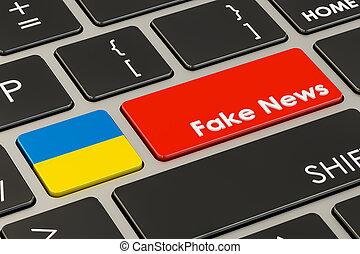 Ukrainian fake news button, key on keyboard. 3D rendering