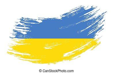Ukrainian flag grunge brush background. Vector illustration.