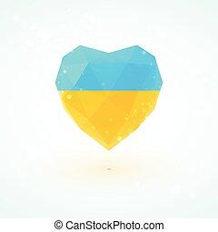 Ukrainian flag in shape diamond glass heart. Triangulation style