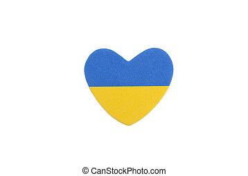 Ukrainian flag in the shape of a heart.