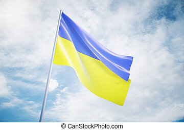 Ukrainian flag on sky background