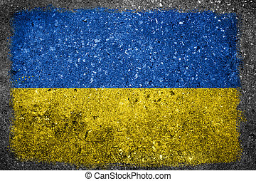 Ukrainian Flag Painted on Concrete Wall