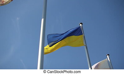 Ukrainian flag swaying in the wind