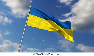 Ukrainian flag waving against time-lapse clouds background
