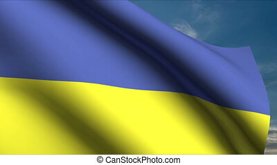 Ukrainian Flag waving in wind with clouds in background