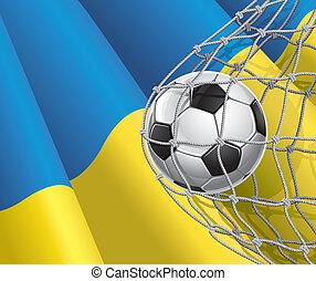 Ukrainian flag with a soccer ball