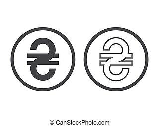 Ukrainian Hryvnia currency sign. Vector concept illustration