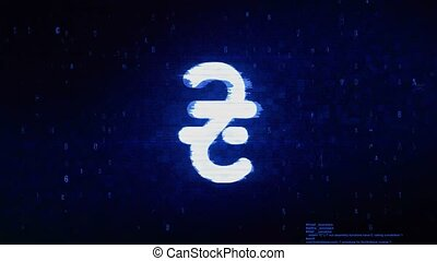 Ukrainian Hryvnia Currency Symbol Digital Pixel Noise Error Animation.