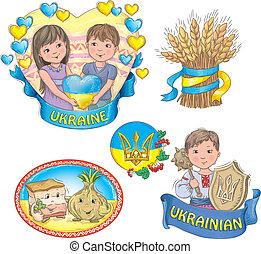 Ukrainian images. Contains transparent objects.EPS 10.