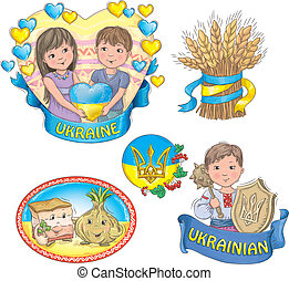Ukrainian images. Contains transparent objects.EPS 10.