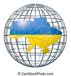 Ukrainian map on the Earth Globe. 3D rendering