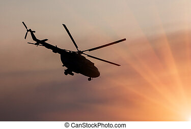 Ukrainian military helicopter in flight