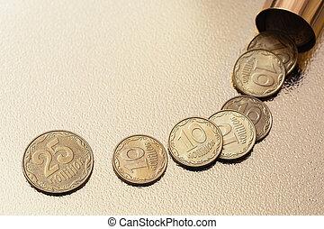 Ukrainian money penny. The crisis in the Ukrainian economy. Black hole.