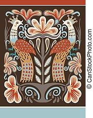 ukrainian, padrão, étnico, decorativo, pássaros, dois, mão, ...