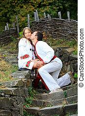ukrainian, par, jovem, romanticos