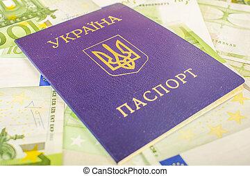 ukrainian, passaporte, contra, a, fundo, de, euro-accounts, com, um, valor nominal, de, 100