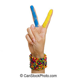 Ukrainian patriotic theme: Hand Giving Peace (Victory) Sign...