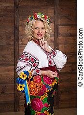 Ukrainian pregnant woman in vyshyvanka