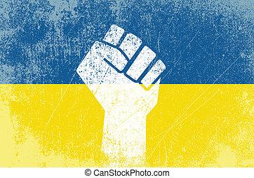 Ukrainian revolution - Vector illustration of fist symbol...
