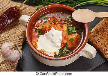 Ukrainian traditional borsch with wooden spoon on black background.